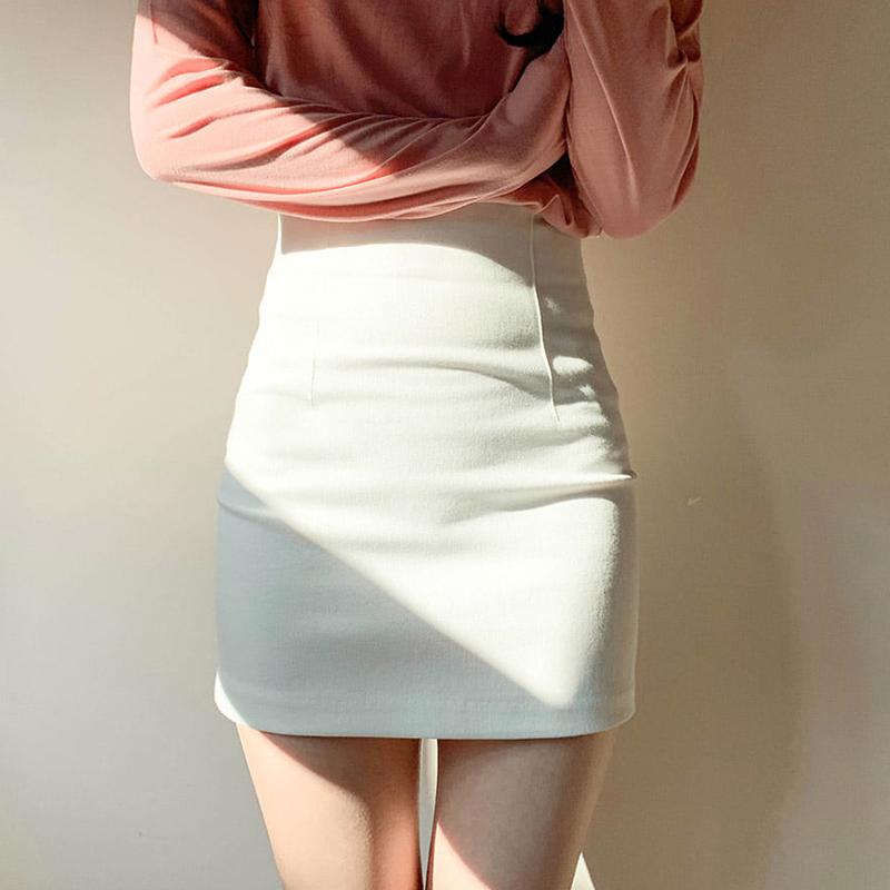 白色一步裙女夏黑色紧身性感弹力半身裙高腰显瘦包臀裙子短裙包裙