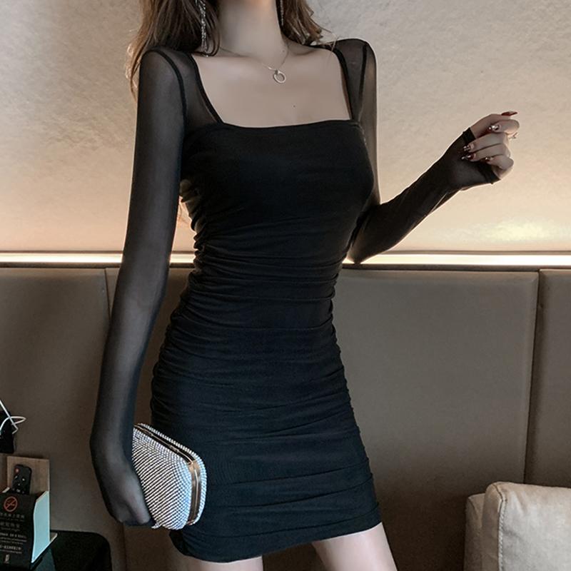 夜 店女装心机方领连衣裙气质网红蹦迪修身包臀网纱长袖性感短裙