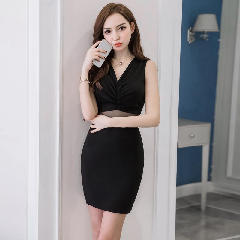 韩国女装性感修身包臀短裙2020年夏季新款网纱V领紧身显瘦连衣裙