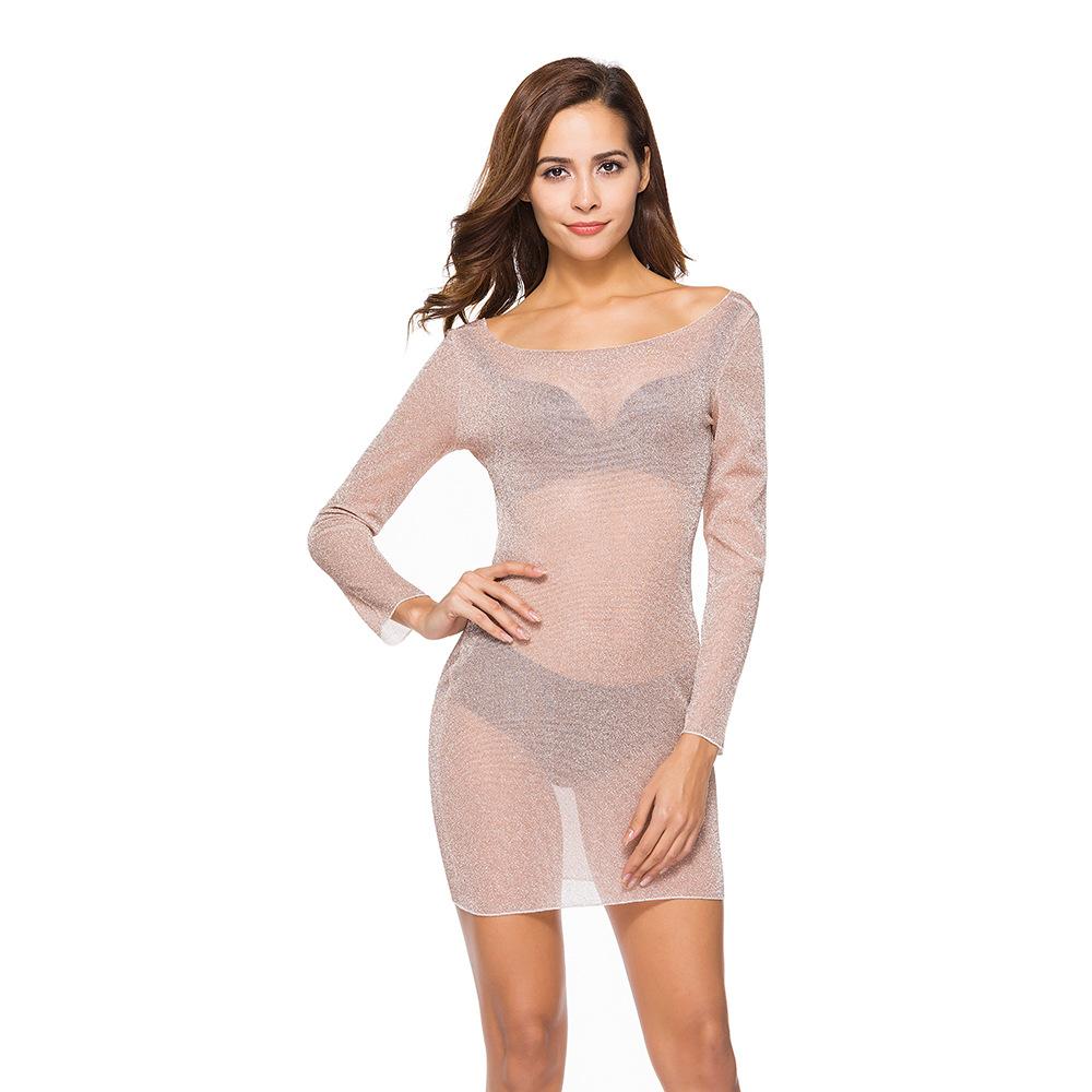 夜店装性感修身连衣裙长袖弹力修身包臀裙透视短裙比基尼防晒罩衫