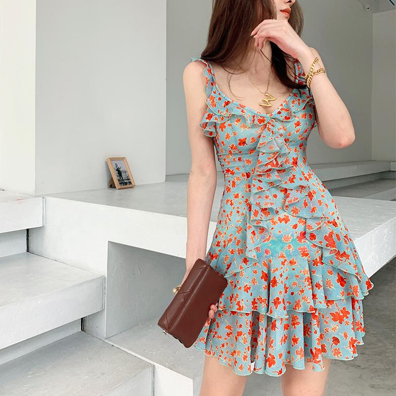 新款女纯欲风法式性感低胸荷叶修身显瘦雪纺印花短吊带碎花连衣裙