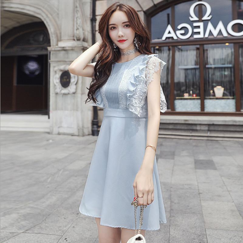 2019夏季新款女装韩版时尚气质性感短裙子修身显瘦无袖雪纺连衣裙