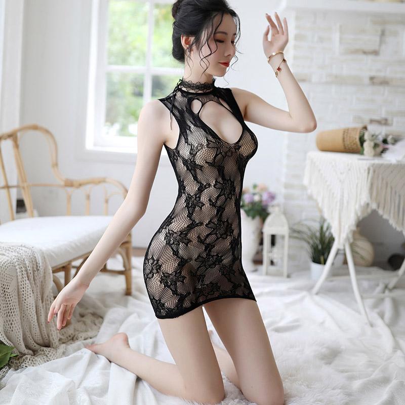 性感情趣套装大码紧身连身裙齐臀网袜材质超短裙上衣+大腿渔网袜