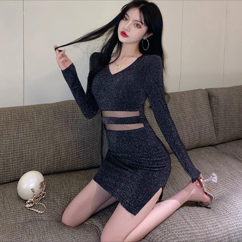 早秋2020新款性感网纱开叉包臀短裙高腰显瘦遮肚子减龄黑色连衣裙