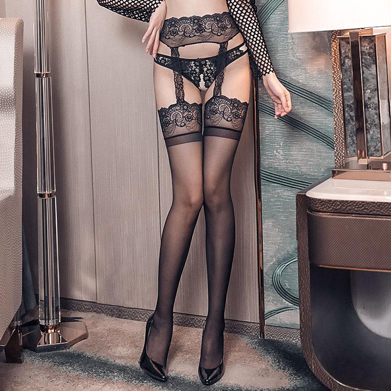 情趣丝袜性感内衣蕾丝过膝吊带袜火辣开裆黑丝连裤中长筒袜女薄款